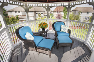 brookstone from Hickory Dickory Deck blue, teal cushions blue cushions, gazebo