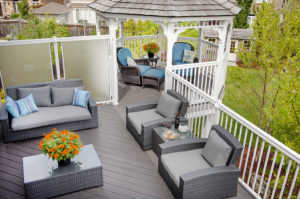brookstone from Hickory Dickory Deck blue, teal cushions