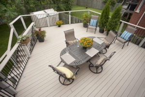 cobblestone, Hickory Dickory Deck blue striped cushions overhead, arial