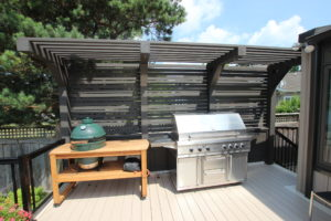 privacy screen behind grill