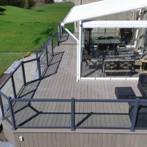 Hickory Deck with glass/aluminum railing
